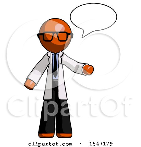 Orange Doctor Scientist Man with Word Bubble Talking Chat Icon by Leo Blanchette
