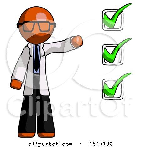 Orange Doctor Scientist Man Standing by List of Checkmarks by Leo Blanchette