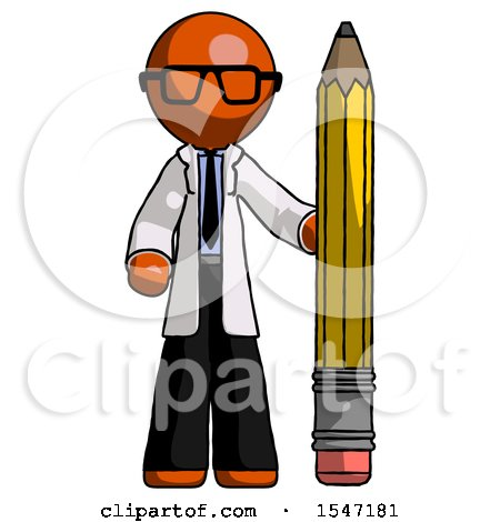 Orange Doctor Scientist Man with Large Pencil Standing Ready to Write by Leo Blanchette