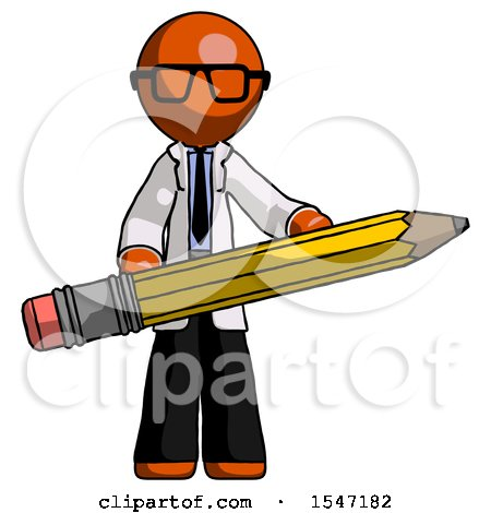 Orange Doctor Scientist Man Writer or Blogger Holding Large Pencil by Leo Blanchette