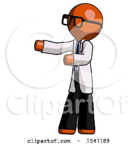 Orange Doctor Scientist Man Presenting Something to His Right by Leo Blanchette