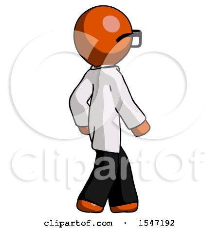 Orange Doctor Scientist Man Walking Away Direction Right View by Leo Blanchette