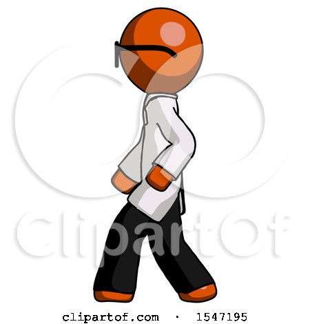 Orange Doctor Scientist Man Walking Left Side View by Leo Blanchette