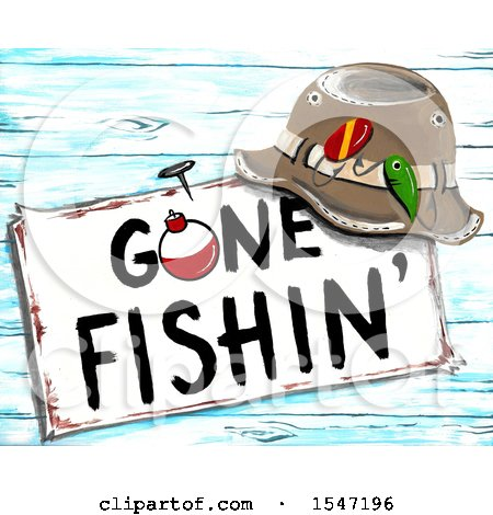 Clipart of a Hat Resting on a Gone Fishing Sign - Royalty Free Illustration by LoopyLand