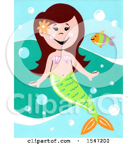 Clipart of a Girl Mermaid and a Fish - Royalty Free Illustration by LoopyLand