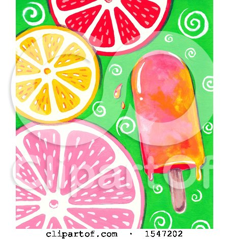 Clipart of a Popsicle and Citrus Slice Background - Royalty Free Illustration by LoopyLand