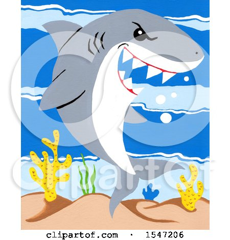 Clipart of a Shark Smiling - Royalty Free Illustration by LoopyLand