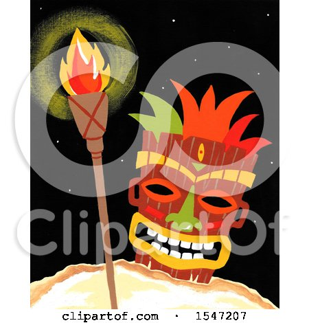 Clipart of a Tiki Mask and Torch - Royalty Free Illustration by LoopyLand
