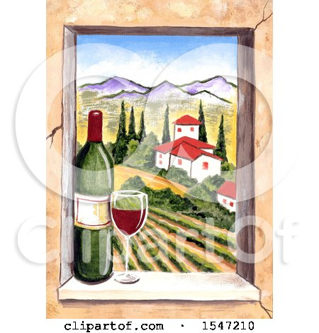 Clipart of a Wiindow Frame with a View of Wine Country - Royalty Free Illustration by LoopyLand