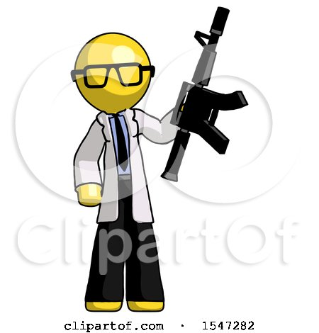 Yellow Doctor Scientist Man Holding Automatic Gun by Leo Blanchette
