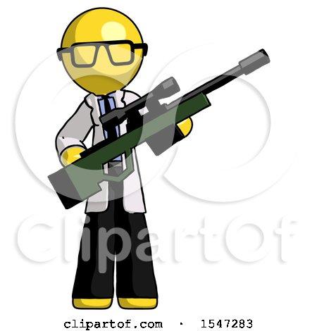 Yellow Doctor Scientist Man Holding Sniper Rifle Gun by Leo Blanchette