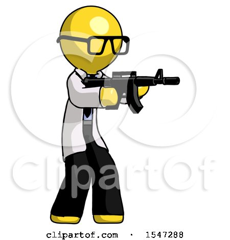 Yellow Doctor Scientist Man Shooting Automatic Assault Weapon by Leo Blanchette