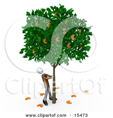 Greedy Businessman Shaking Money Off Of A Tree That Grows Euros Clipart Illustration Image by 3poD