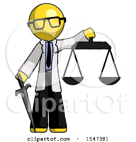 Yellow Doctor Scientist Man Justice Concept with Scales and Sword, Justicia Derived by Leo Blanchette