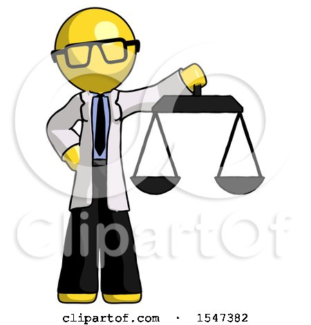 Yellow Doctor Scientist Man Holding Scales of Justice by Leo Blanchette
