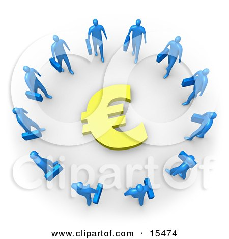 Group Of Blue Businessmen Carrying Briefcases Standing In A Circle Around A Euro Sign Clipart Illustration Image by 3poD