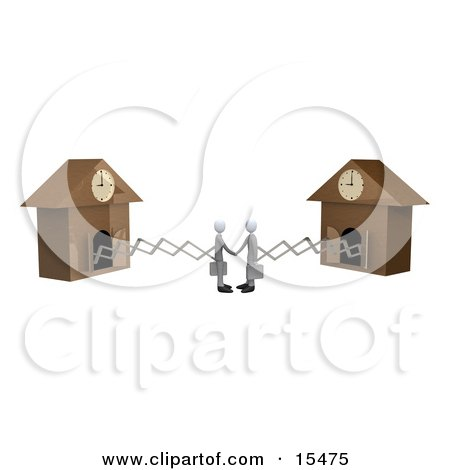 Two White Businessmen Sticking Out From Arms Of Cuckoo Clocks, Shaking Hands Upon Agreement Of A Deal Clipart Illustration Image by 3poD