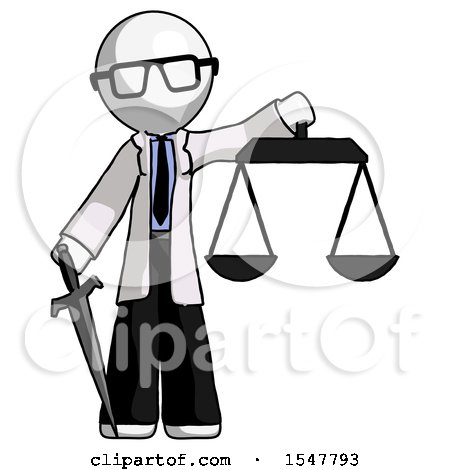 White Doctor Scientist Man Justice Concept with Scales and Sword, Justicia Derived by Leo Blanchette