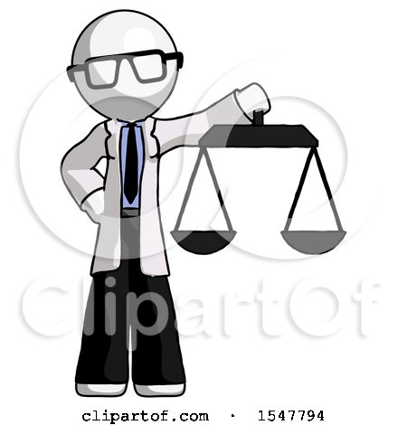 White Doctor Scientist Man Holding Scales of Justice by Leo Blanchette