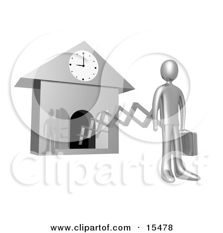 Silver Businesman In A Suit, Holding A Briefcase And Sticking Out From An Arm Of A Cuckoo Clock Upon The Hour Of 9am, Symbolising The Start Of A New Work Day, Or Punctuality  Posters, Art Prints