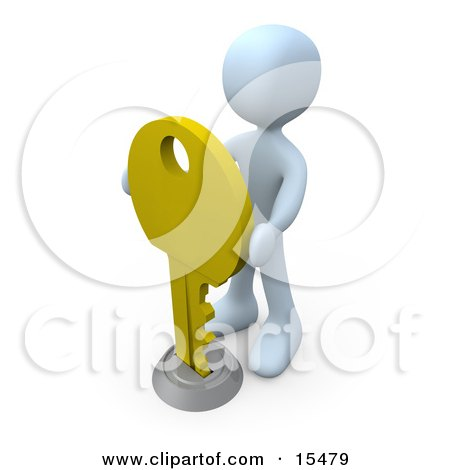 White Figure Inserting A Large Golden Key Into A Keyhole, Symbolising Success, Security Or Secrecy Clipart Illustration Image by 3poD