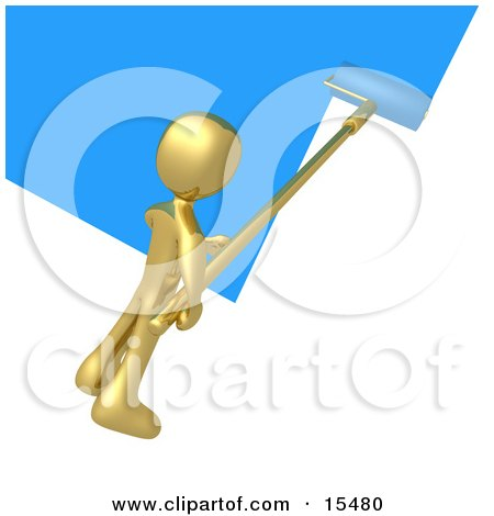 Gold Person Using A Roller To Apply Blue Paint To A White Wall Clipart Illustration Image by 3poD