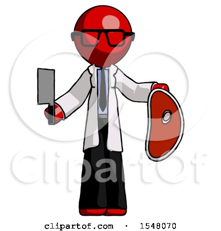 Red Doctor Scientist Man Holding Large Steak with Butcher Knife by Leo Blanchette