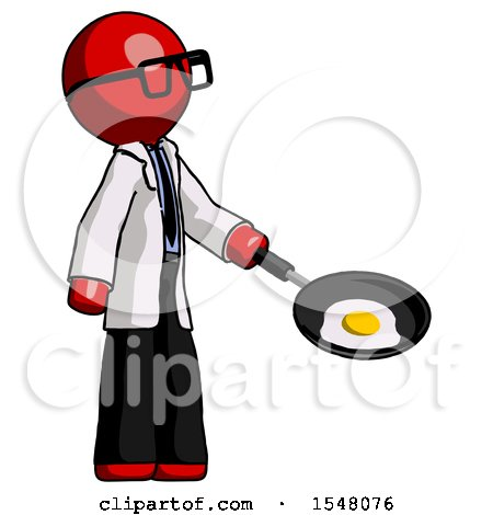 Red Doctor Scientist Man Frying Egg in Pan or Wok Facing Right by Leo Blanchette