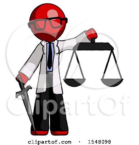 Red Doctor Scientist Man Justice Concept with Scales and Sword, Justicia Derived by Leo Blanchette