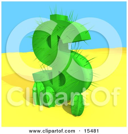 Green Cactus In The Shape Of A Dollar Sign, Growing In The Desert  Posters, Art Prints