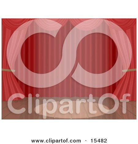 Spotlight Shining On The Center Of Wooden Boards By Red Theatre Curtains On An Empty Wooden Stage Clipart Illustration Image by 3poD
