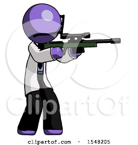 Purple Doctor Scientist Man Shooting Sniper Rifle by Leo Blanchette