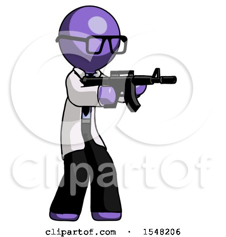 Purple Doctor Scientist Man Shooting Automatic Assault Weapon by Leo Blanchette