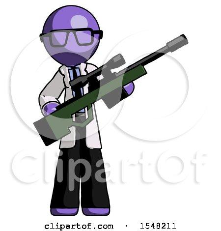 Purple Doctor Scientist Man Holding Sniper Rifle Gun by Leo Blanchette