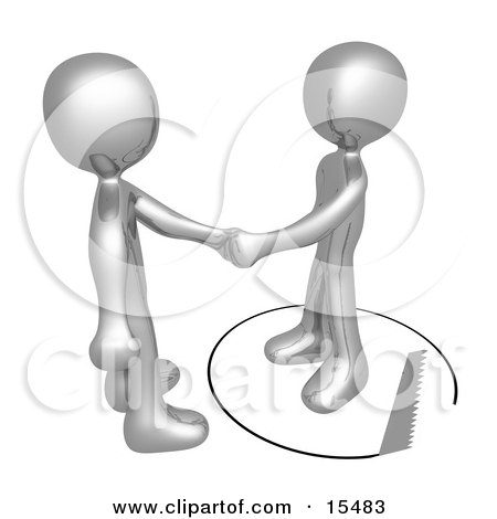Unsuspecting Silver Man Shaking Hands On A Deal With Another Man As A Saw Cuts A Circle Out From Under Him Clipart Illustration Image by 3poD