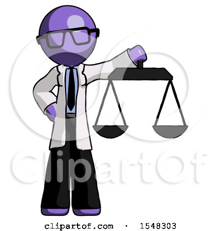 Purple Doctor Scientist Man Holding Scales of Justice by Leo Blanchette