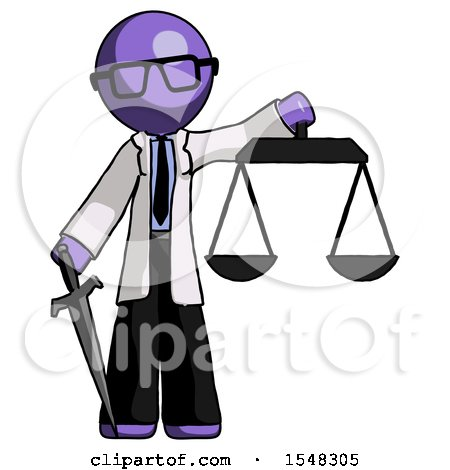 Purple Doctor Scientist Man Justice Concept with Scales and Sword, Justicia Derived by Leo Blanchette