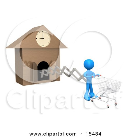 White Figure Pushing An Empty Shopping Cart On The End Of A Cuckoo Clock Arm, Symbolizing A Special Sales Promotion That Starts At A Certain Time Or A Person On A Schedule Clipart Illustration Image by 3poD