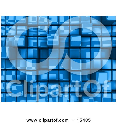 Blue Abstract Background With Cubes, Some Pushed Back, Some Sticking Outwards Clipart Illustration Image by 3poD