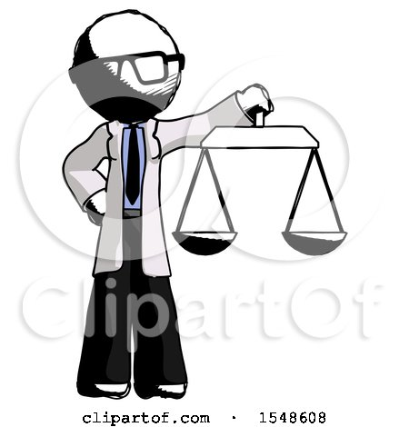 Ink Doctor Scientist Man Holding Scales of Justice by Leo Blanchette