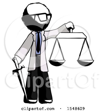 Ink Doctor Scientist Man Justice Concept with Scales and Sword, Justicia Derived by Leo Blanchette