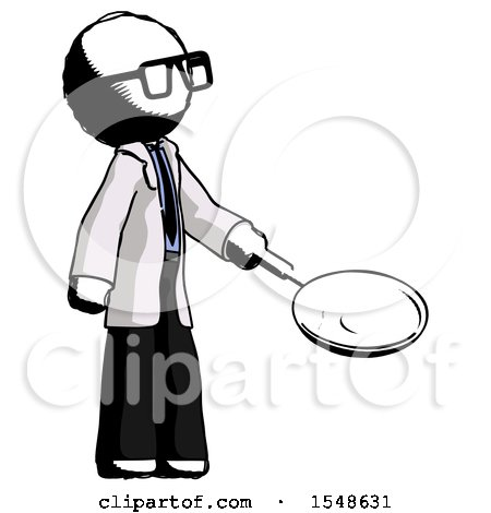 Ink Doctor Scientist Man Frying Egg in Pan or Wok Facing Right by Leo Blanchette