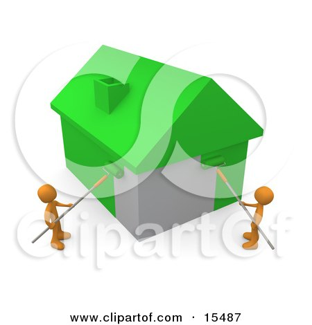 Two Orange People Using Roller Brushes To Paint A Home Green, Symbolizing Upgrading A Home To Be More Energy Efficient Clipart Illustration Image by 3poD
