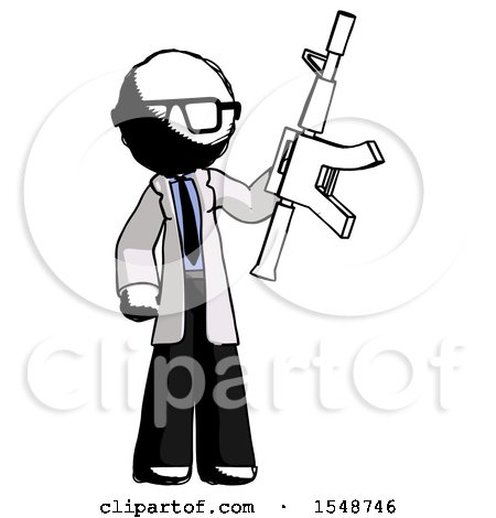 Ink Doctor Scientist Man Holding Automatic Gun by Leo Blanchette