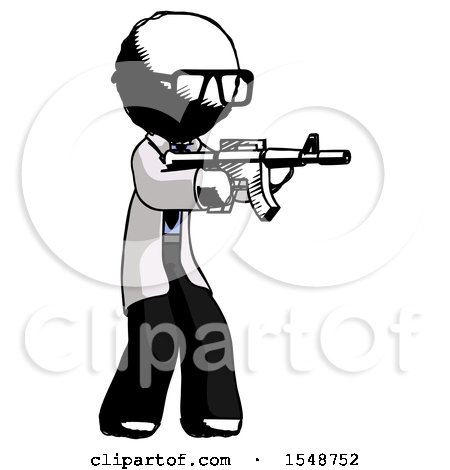 Ink Doctor Scientist Man Shooting Automatic Assault Weapon by Leo Blanchette