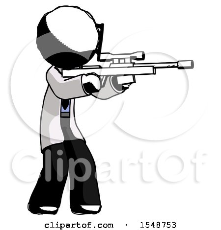 Ink Doctor Scientist Man Shooting Sniper Rifle by Leo Blanchette