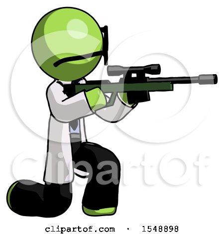 Green Doctor Scientist Man Kneeling Shooting Sniper Rifle by Leo Blanchette