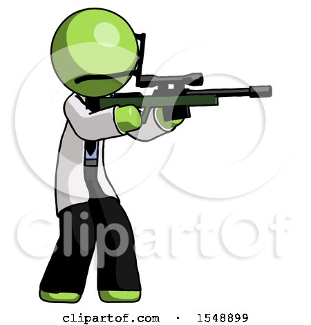 Green Doctor Scientist Man Shooting Sniper Rifle by Leo Blanchette