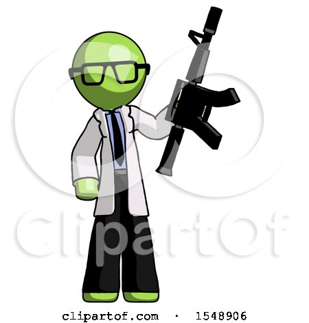 Green Doctor Scientist Man Holding Automatic Gun by Leo Blanchette