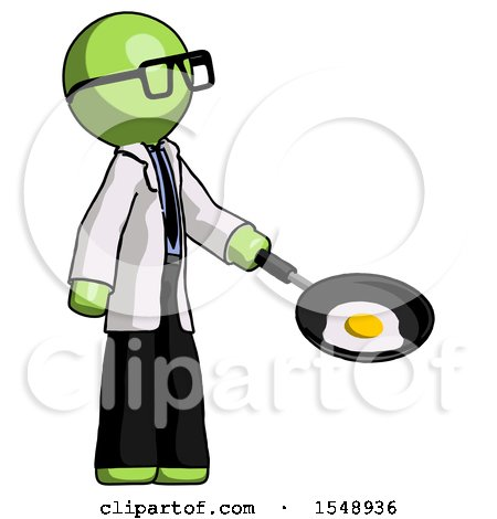 Green Doctor Scientist Man Frying Egg in Pan or Wok Facing Right by Leo Blanchette